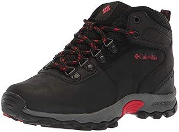 Columbia Boys Youth Newton Ridge Leather Boot Waterproof Hiking Shoe Black/Mountain Red 6 Wide US Big Kid