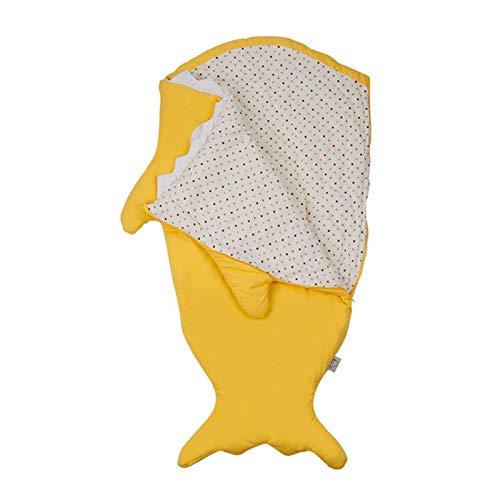 POHOVE Saco de dormir para niños y niñas, con forma de tiburón, cálido, transpirable, para invierno, para ropa de cama de niños, cierre de cremallera, suave anket de 6 a 48 meses (amarillo)