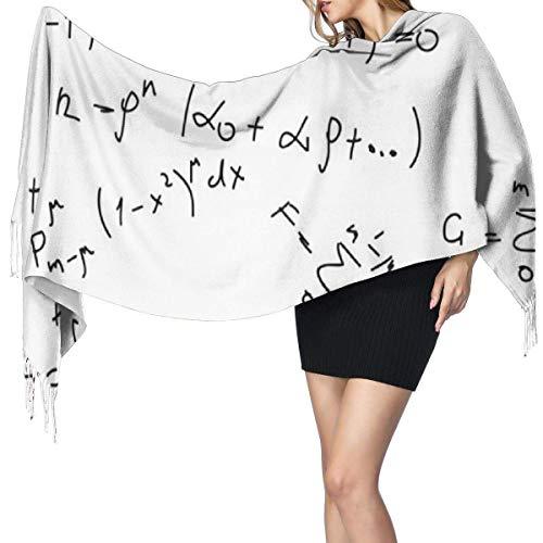 Fórmula matemática Imprimir Moda para mujer Diseño de chal largo de bufanda de Cachemira de caballo Invierno Cálido Bufanda grande Regalo