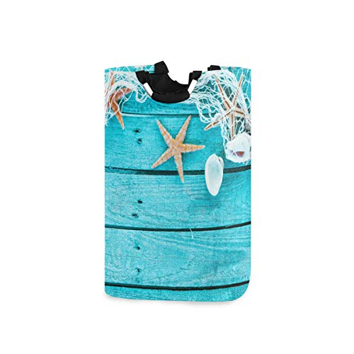 BEITUOLA Laundry Basket,Autical Border With Fishing Net Sea Shells And Starfish Colourful Turquoise Blue Painted Wooden Boa,Portable Washing Basket,Laundry Hamper with Handle,Storage Bin,Collapsible