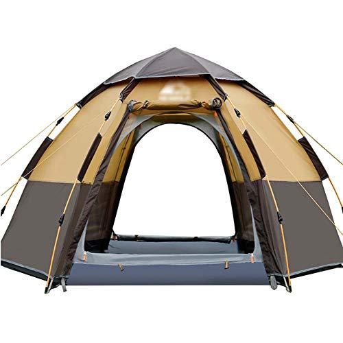 LJJLJJ 2-in-1 Tente Popup, Piquets De Tente Portatifs Tipi, pour La Randonnée Pédestre Pêche Activités De Plein Air, 4 Personnes,Marron