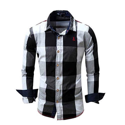 VEMOW Herbst Winter Frühling Herren Karo Hemd Langarm Nicht-Eisen Business Casual Tagesbluse Bluse Formal Ocasion Baumwolle Slim Fit Plaid Top(Schwarz, 50 DE/M CN)
