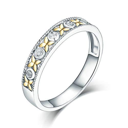 Bishilin Anillos Oro Blanco 750 Alianza de Boda de 18K, Flores Diamante Anillo de Bodas para Mujer 0.05ct Diamante Anillo de Compromiso de Boda Blanco Amarillo Y Oro Amarillo Talla: 25