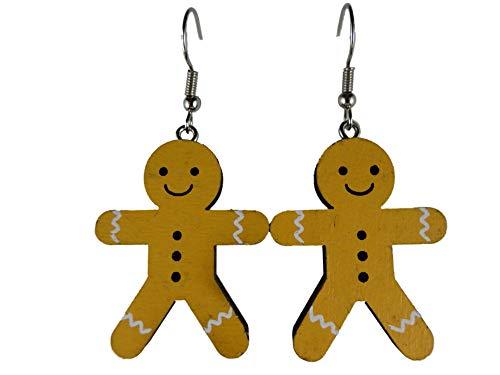 Ohrringe Hänger Ohrhänger Holz Lebkuchen Männchen Weihnachtsbaum Weihnachts Schmuck Heilig Abend 13.429 B