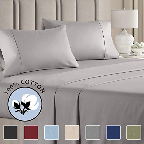 Best Bedding Store Twin Sleeper Sofa Bed Sheet Set - Silver Grey Solid 100% Cotton 600 Thread Count Fits Up to 8'' inches Deep Mattress.