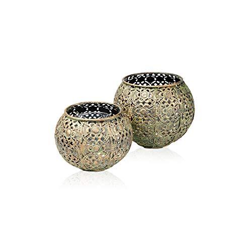 Flanacom Premium Windlicht - 2 Set - Schwarz Gold - Teelichter - Teelichtgläser Windlicht - Orientalisches Teelicht - Marokkanische Teelichtgläser