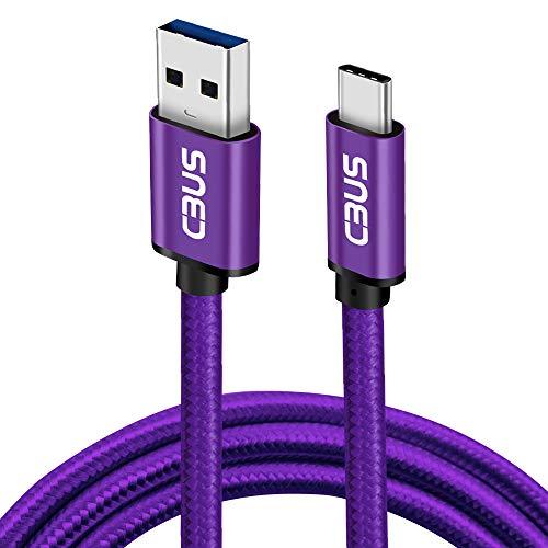 Cbus Wireless 2m Hochfestes Geflochtenes Kabel und Schnellladung von USB-C zu USB-A für XiaoMi Poco X3 NFC, RedMi 9, Note 9S, Note 9 Pro, Note 8, XiaoMi Mi 10 Lite, Mi 10T/10T Pro 5G (Lila)