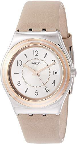 Swatch Reloj Analógico para Mujer de Cuarzo con Correa en Cuero YLS458