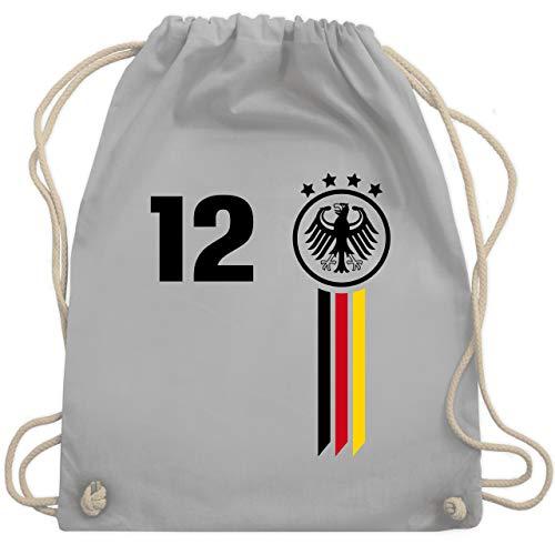 Shirtracer Fußball-Europameisterschaft 2021-12. Mann Deutschland WM - Unisize - Hellgrau - deutschland turnbeutel - WM110 - Turnbeutel und Stoffbeutel aus Baumwolle