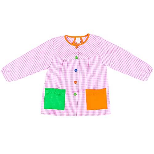 H HANSEL HOME Bata Escolar Infantil Multicolor Baby Infantil de Cuadros - (6-7 años, Rosa)