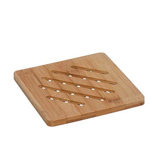 Dessous de plat en bois de bambou carré 15 cm