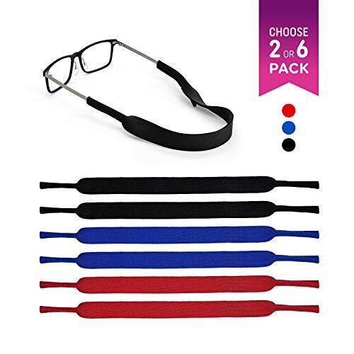 Eyeglasses Holder Strap by SQV - Premium Soft Neoprene Adjustable Sport Eyeglasses Holder for Men & Women - Glasses Cord Lanyard - Eyeglass Retainer (6, Mixed Color)