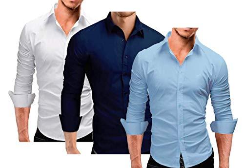 Kit 3 Camisa Social Manga Longa Slim Fit