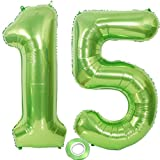 2 globos con el número 15, color verde, número 15, globos verdes para niña, globos con número 15, globos de cumpleaños XXXL verdes, globos gigantes de 15