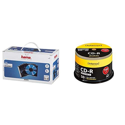 Hama CD Leerhüllen Schutzhülle (Slim Line, Höhe: 5mm, CD-Hüllen) 50er Pack, transparent-schwarz + Intenso CD-R Rohlinge (700MB, 52x 50er Spindel Cakebox bedruckbar)