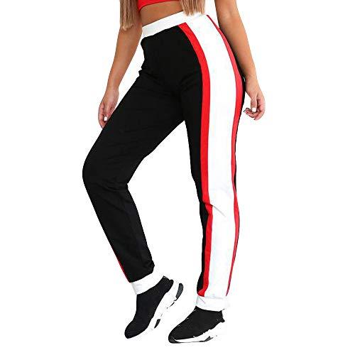 FRAUIT dames skinny sweatbroek strepen sweatpants elastische band joggingbroek met zakken workout fitness sport gym yoga atletisch losse broek