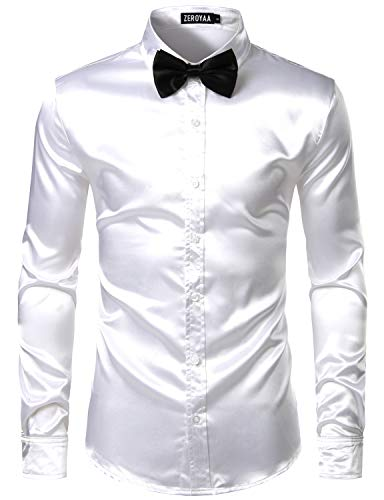 ZEROYAA Men's Luxury Shiny Silk Like Satin Button Up Dress Shirts ZLCL14-White Medium