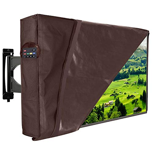 Outdoor TV Cover 22'-24' Waterproof Dust-Proof With FREE Plastic Cover Front Flap Bottom Cover Scratch Resistant Interior Protector for LCD LED Plasma Television Remote Controller Pocket