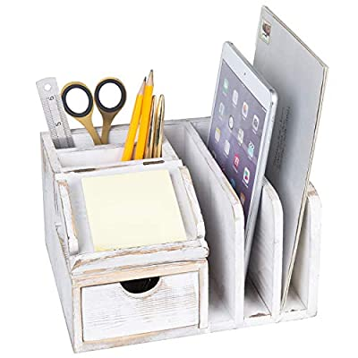 MyGift Whitewashed Wood Desktop Office Organizer w/Sticky Note Pad Holder, Mail Sorter & Pullout Drawer