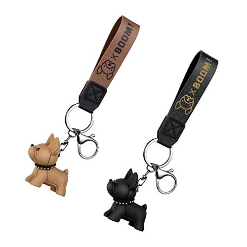 Amosfun 2pcs keychains for women fashion keychain coil wrist bracelet with tag key chain- puppy keychain dog keychain keychains- Set Adorable Key Chain Pendants- French Bull Dog Keychains Car
