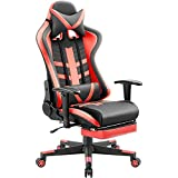 Homall Ergonomic High-Back Racing Chair | Leather Bucket Seat, Headrest, Footrest and Lumbar Support | Black & Red