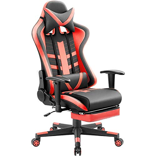 Homall Gaming Chair Ergonomic High-Back Racing Chair Pu Leather Bucket Seat,Computer Swivel Office Chair Headrest and Lumbar Support Executive Desk Chair with Footrest (Red/Black)