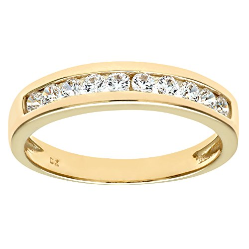 Citerna 9 ct Yellow Gold Eternity Ring with Channel Set Cubic Zirconia,Size:L