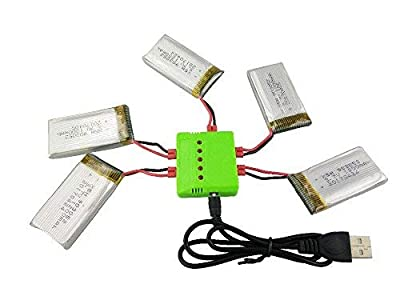 Fytoo 5PCS 3.7V 1200mAh Lipo Battery and 5 in 1 Charger for Syma X5HW X5HC RC Quadcopter Spare Parts Drone Battery