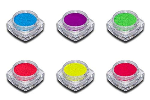 6er Neon Pigment Puder Set Smoky Nails Pink Rot Gelb Blau Lila Grün Nailart