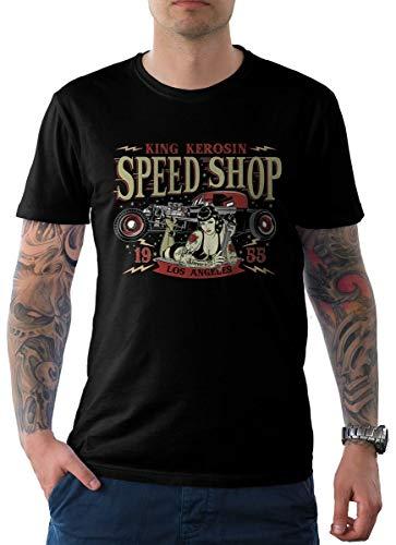 King Kerosin Herren T-Shirt Schwarz Pin Up Edition 04-LA Speed Shop XL