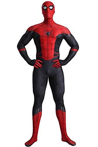 Miscoloor Costume Spider Man SuperSkin Unisexe Spiderman Zentai avec Masque Vêtements Outfit Halloween Noël Lycra Hauteur Env 170cm-180cm