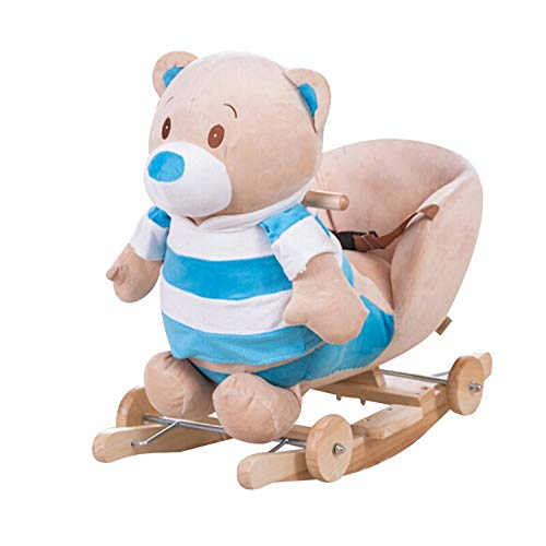 Children's Rocking Horse Striped Bear Child Rocking Horse Baby Trojan Rocking Chair Rocking Horse Toy For Boys Or Girls Ride-On Horse Toy Toddler Rocking Chair (Color : Blue, Size : 33X60X50CM)