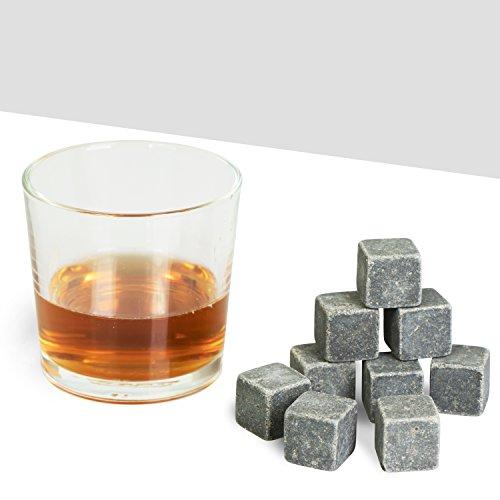 Grinscard Whiskysteine 9 STK. Wiederverwendbar - Grau Speckstein 2 x 2 x 2 cm - Kühlsteine für Party Hausbar Reisen - 7