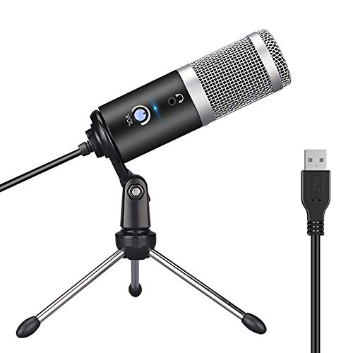 PURATEN USB-microfoon, pc-laptop-microfoon, professionele condensator-studiomicrofoon met statief PC-computermicrofoonkit voor studio, streaming, broadcast, YouTube, video, opnames