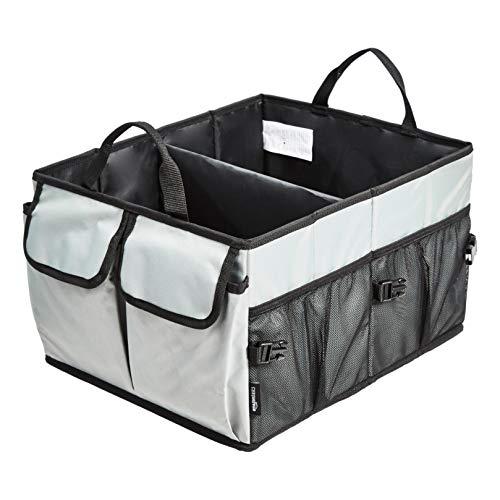 Amazon Basics - Organizador de maletero con diseño plegable para coches, todocaminos y camiones - Gris