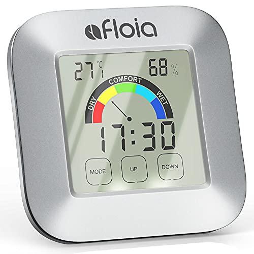 Thermometer Hygrometer Innen,Afloia Digitales Mini Thermo Hygrometer Innen T1, Farbige Bildschirm mit Licht, Touchscreen, 5-Stufen-Komfortanzeige, Magnet-Absaugung für Kinder/Badezimmer, Büro, Keller