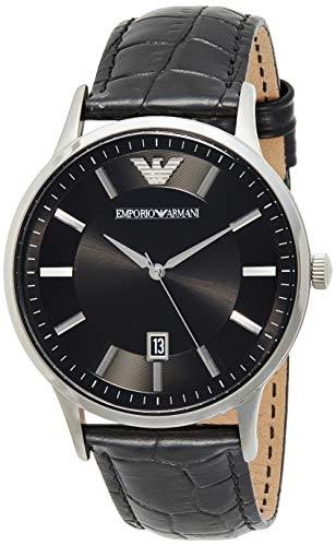 Emporio Armani Herren Analog Quarz Uhr mit Leder Armband AR11186