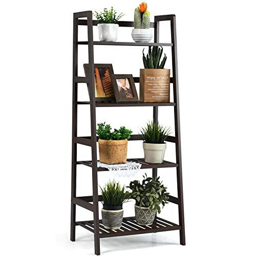 Giantex 4-Tier Ladder Shelf, Multifunctional Ladder-Shaped Bookcase Storage Shelves, Bamboo Plant Stand Flower Pots Holder, Display Rack for Living Room Bathroom Bedroom Kitchen (Espresso)