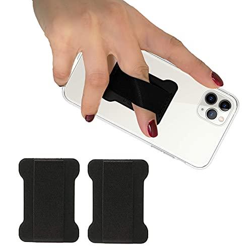 WUOJI - Finger Strap Phone Holder - Ultra Thin Anti-Slip Universal Cell Phone Grips Band Holder for Back of Phone - 2Pack(Black)