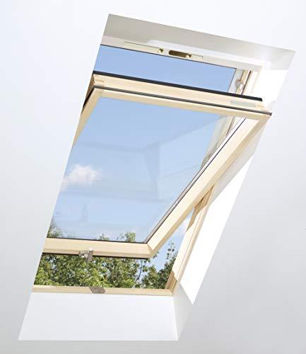 Dachfenster OptiLight VB 114x140 Lüftungsblende | Holz klar lackiert | Schwingfenster mit 2-fach Verglasung | U-Wert Fenster: 1.3 | inkl.Eindeckrahmen