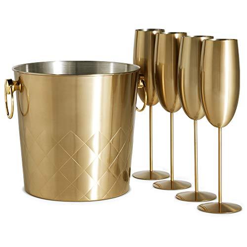 VonShef Sektkühler & 4 Sektgläser - Champagnerkübel 5L aus Edelstahl gebürstetes Gold & 4 Gläser, mit Tragegriffe