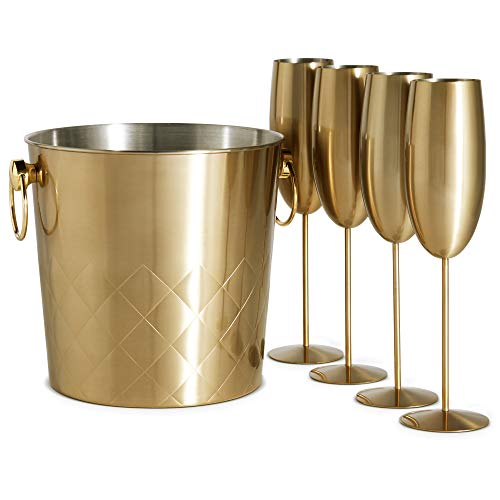 VonShef Brushed Gold Champagne Bucket with 4 Gold Champagne Flutes Glasses, 175oz, Etched Stainless Steel Ice Bucket with Carry Handles