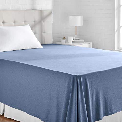 Amazon Basics - Sábana encimera, tejido jersey jaspeado, 230 x 260 + 10 cm - Azulón