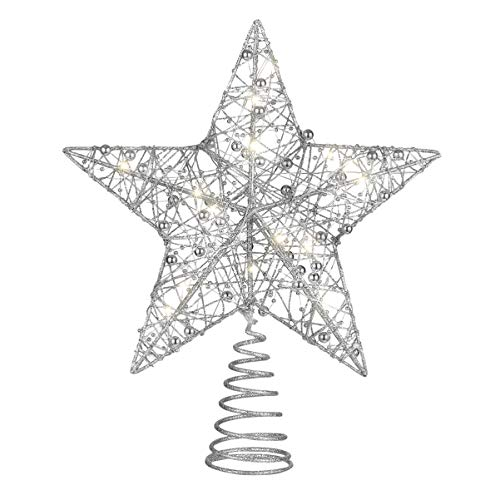 NUOBESTY 25 x 30cm Christmas Tree Ornaments Hollow Out Light Christmas Treetop Star Christmas Tree Topper Star for Home Office Party Shopping Mall(Silver)