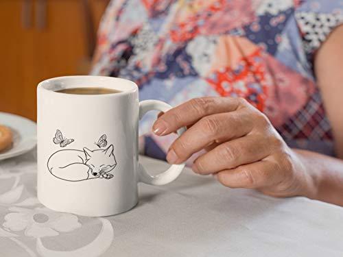 Taza de té con diseño de zorro con mariposas, vida silvestre y felicidad libre de la paz salvaje animal zorro amante de la fauna silvestre 325 ml