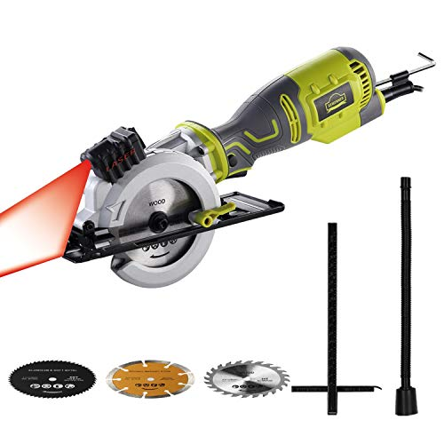 DEWINNER 705 W 3500 RPM Mini sega circolare con laser, profondità di taglio 0-48 mm, 3 lame per sega (127 e 115 mm), per tagliare legno, metallo, stampi, piastrelle e plastica