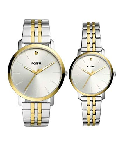 Fossil - Reloj de cuarzo analógico para hombre y mujer Lux Luther, con correa de acero inoxidable bicolor BQ2467SET