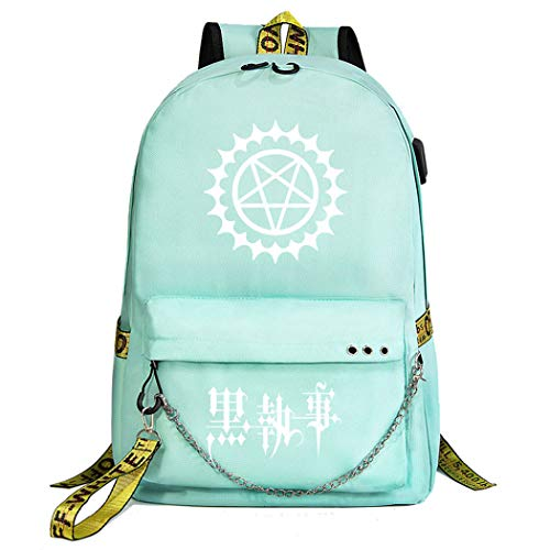 Cosstars Black Butler Rucksack Student Bookbag Schoolbag Girls Backpack 15.6-inch Laptop Bag for Anime Lovers Green / 3