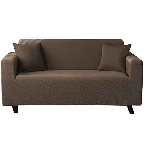 NOBCE Funda de sofá elástica de Color sólido para Sala de Estar Funda de sofá de Esquina seccional de Estilo en L elástica Universal Fundas de sofá marrón 90-140CM