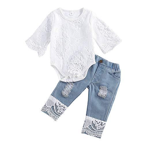 Loalirando Completino Neonata Estivo 2 Pezzi Pagliaccetto in Pizzo + Jeans Elegante Tutina Bimba Tuta Neonata Femmina 0-24 Mesi Casual Primavera Regalo (Bianco A, 3_Months)